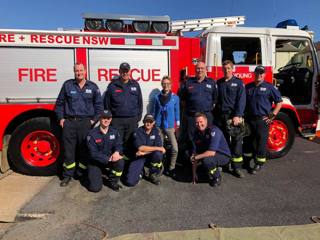 Member for Cootamundra Steph Cooke with members of the Young Fire and Rescue NSW team.