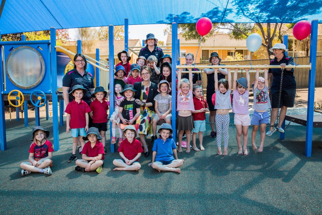 Member for Cootamundra Steph Cooke with a number of preschool students at Gundagai Preschool