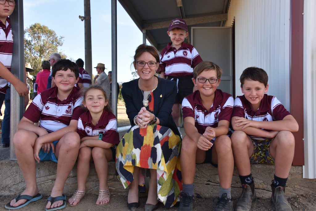 Member for Cootamundra Steph Cooke at McLean Oval to announce funding which will contribute to the construction of a new facility.