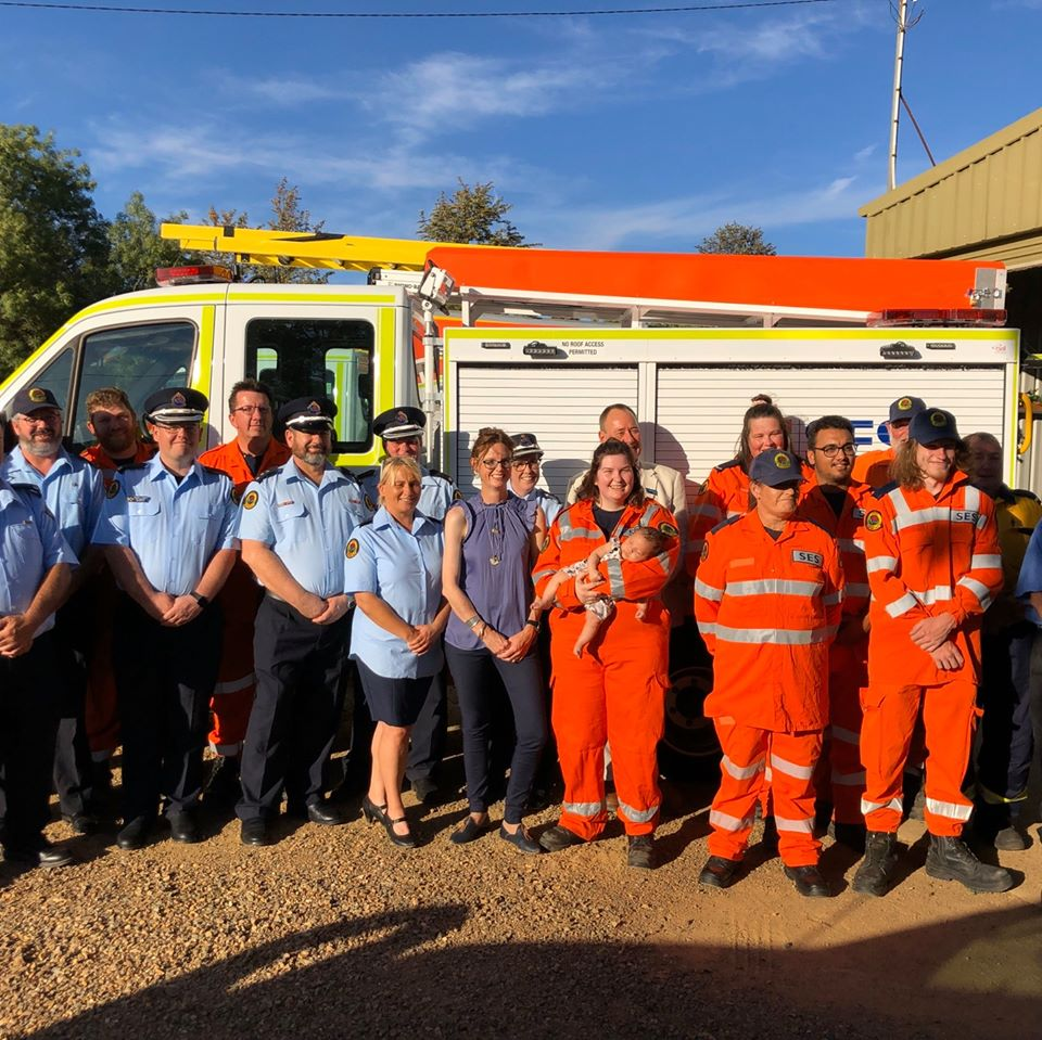 Member for Cootamundra Steph Cooke with members of the Junee SES Unit to handover a new state-of-the-art vehicle.