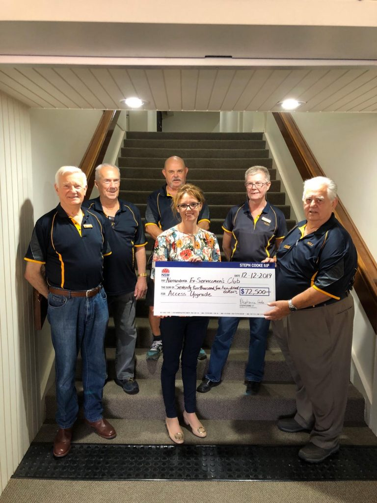 Member for Cootamundra Steph Cooke announcing funding for upgrades at the Narrandera Ex-Servicemen's Club.