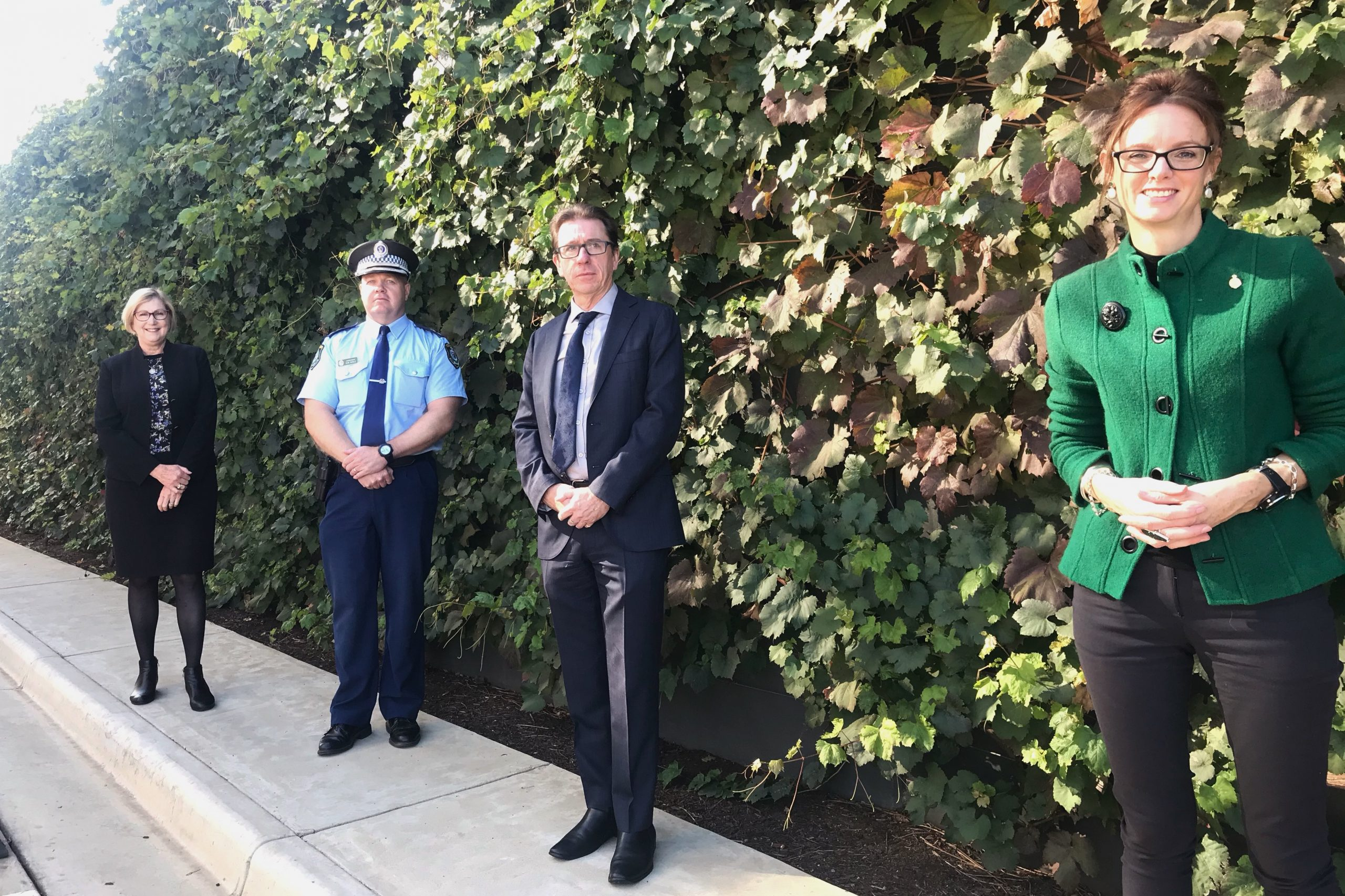 Jill Ludford, Bob Noble, Dr Joe McGirr and Steph Cooke MP stand against a green wall of vines spaced a metre from one another.