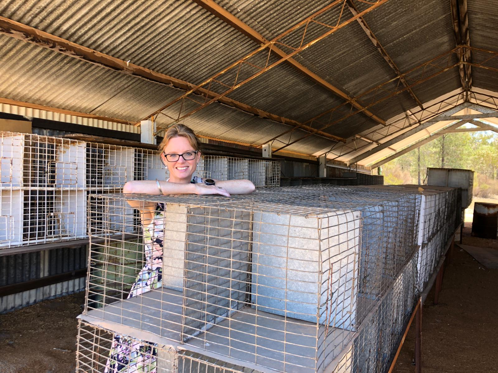 Steph Cooke leans on cages in the Ardlethan Poultry Shed. She smiles at the camera. The metal cages are under a corrugated iron roof.